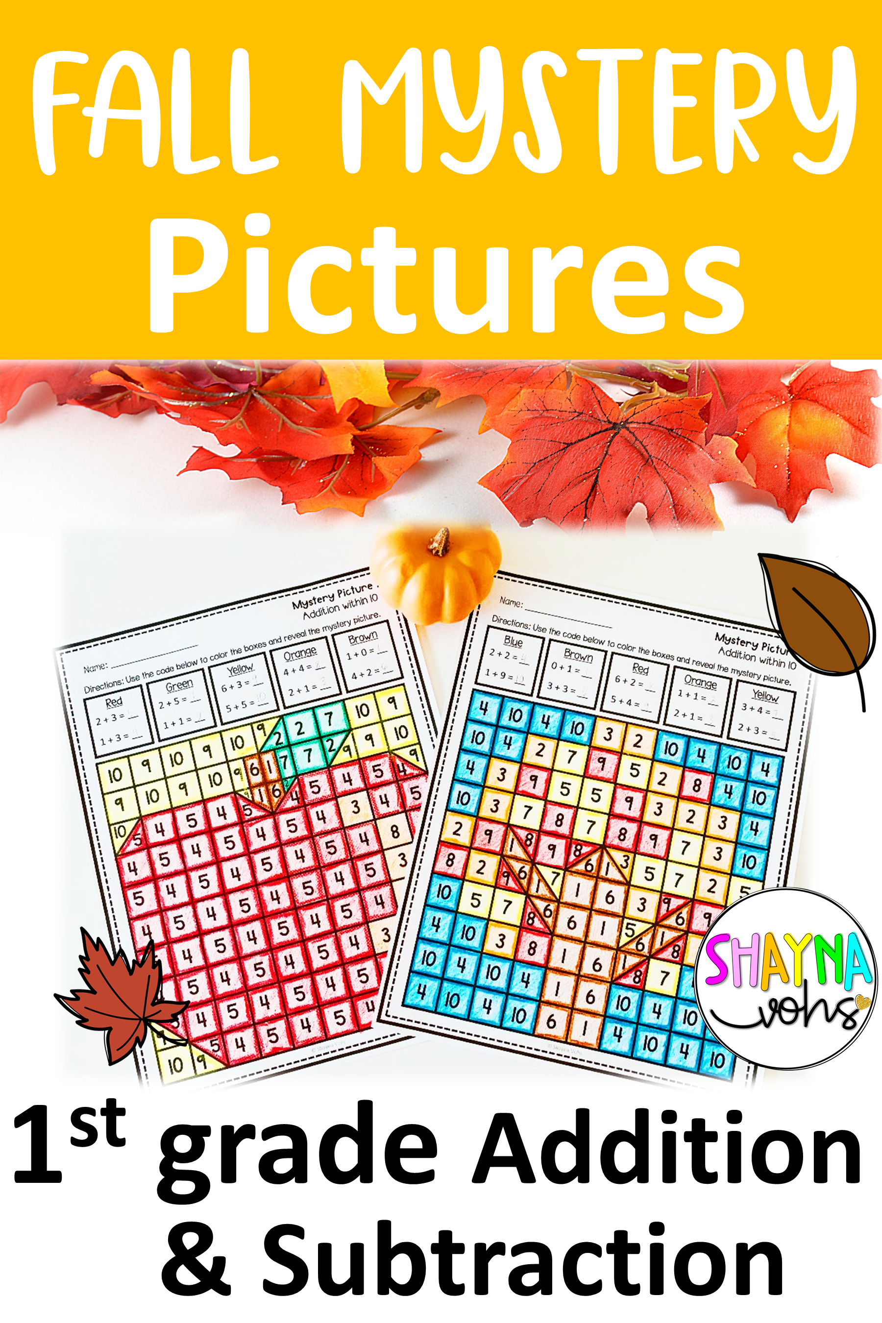 1st Grade Fall Mystery Pictures