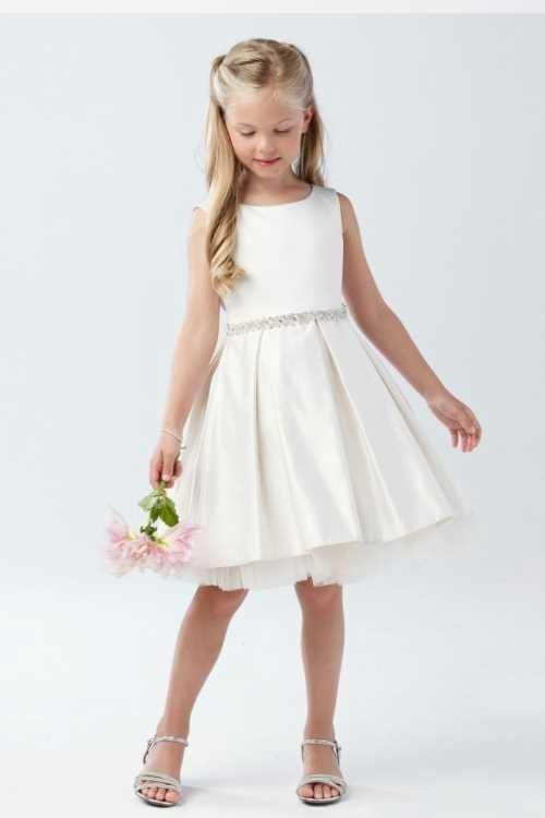 ecc66b13193 Big Girls Ivory Shiny 3D Lace Bodice Mesh Skirt Junior Bridesmaid Dress 8-14