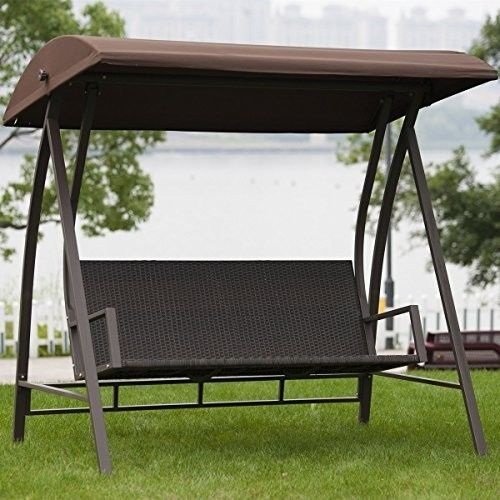 Canopy Chair Outdoor Swing Wicker Patio Hanging Porch Backyard Seats Steel  Frame