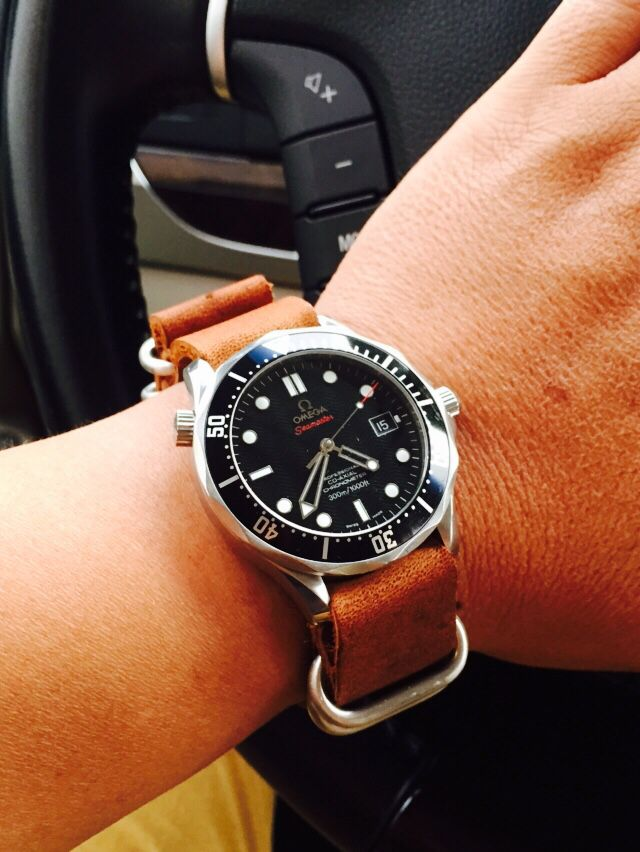 omega seamaster 300 in leather natostrap watches in
