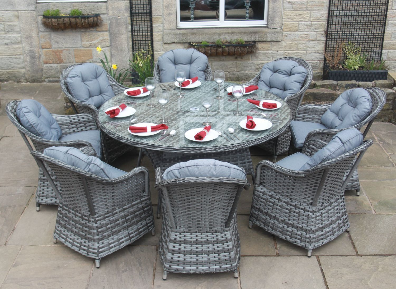 Luxury Grey Rattan 4 6 Or 8 Seat Round Dining Set Garden