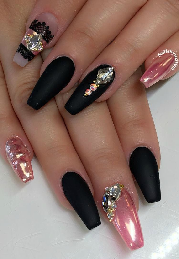 Matte Black & Pink Chrome @nailsbymztina | Matte black, Chrome and Black