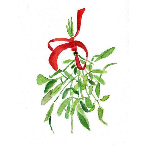 mistletoe art print mistletoe watercolor print mistletoe. Black Bedroom Furniture Sets. Home Design Ideas