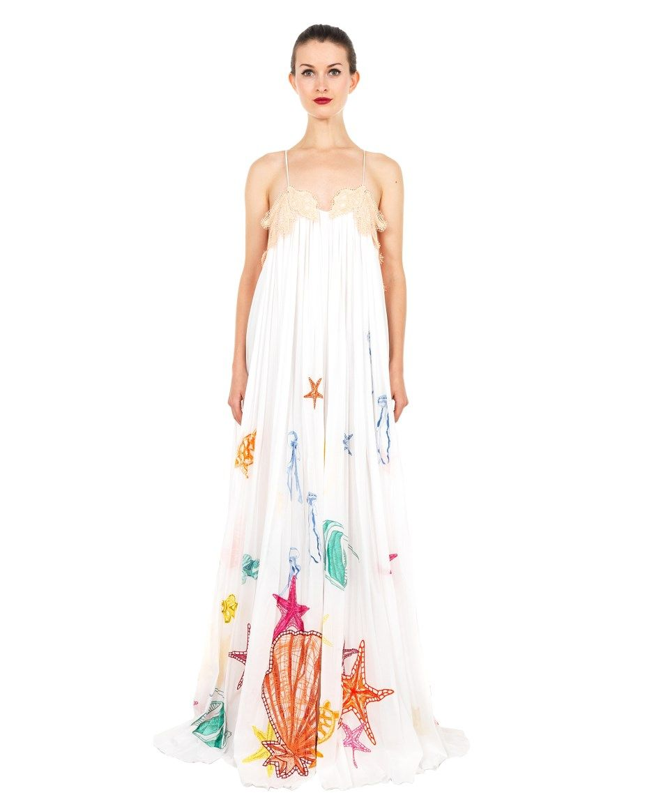 Emilio pucci long dress with drapery ss embroidered long dress