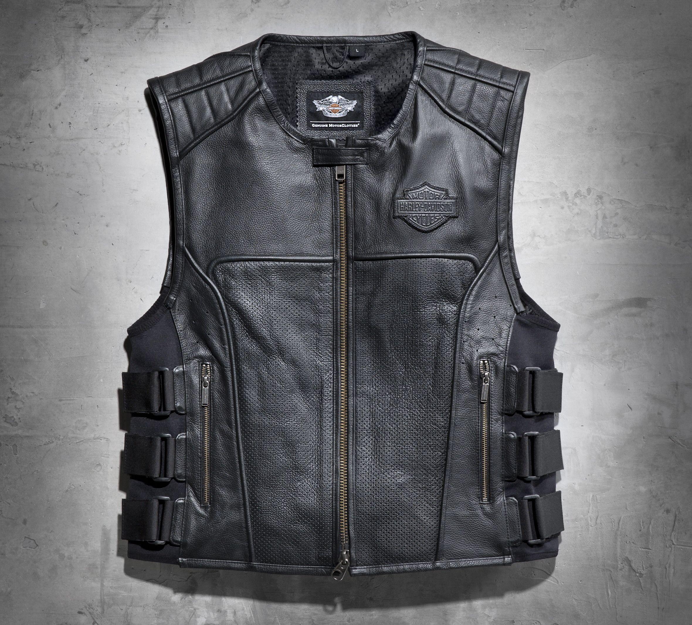 Swat Ii Leather Vest Veste En Cuir Blouson Cuir Moto Gilet Cuir