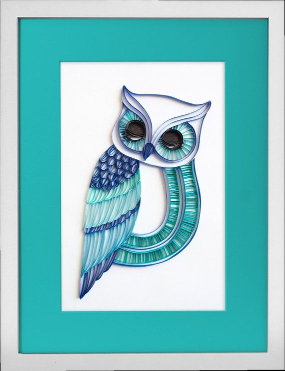 The sleepy owl unique paper quilled wall art for home decor quilling handcrafted piece also rh pinterest