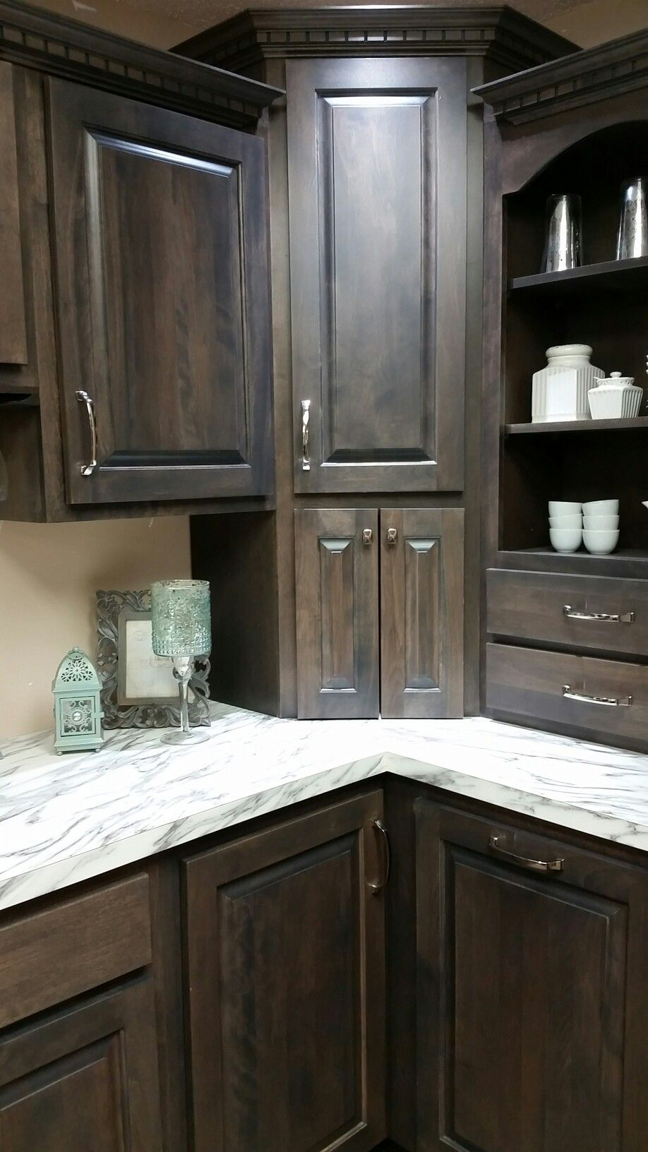 Koch cabinets stone stain  Kitchen island shape or