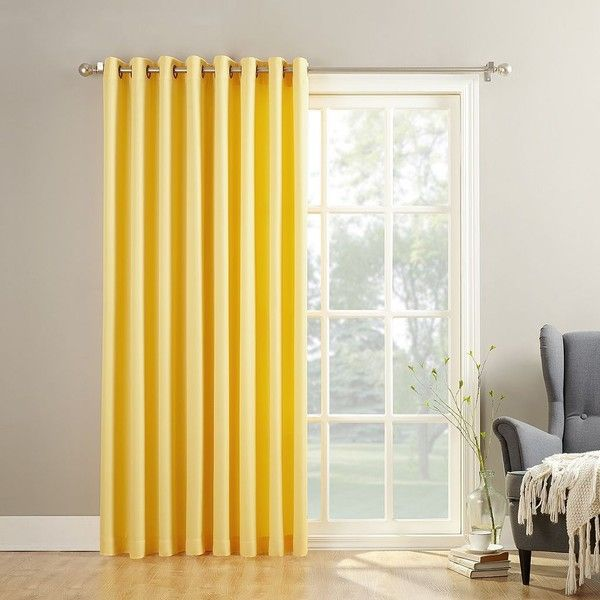 No918 Montego Patio Curtain ($70) ❤ liked on Polyvore featuring home, home decor, window treatments, curtains, yellow, patterned curtains, yellow curtains, yellow window panels, window coverings and pattern window curtains