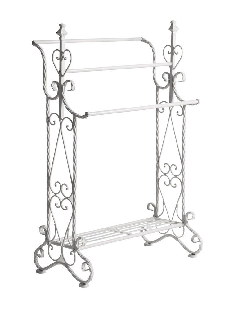 Small White Metal freestanding TOWEL RAIL towel stand ...