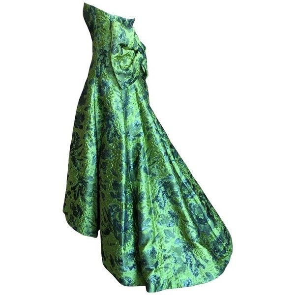 Preowned Oscar De La Renta Strapless Matelasse Evening Gown With ...