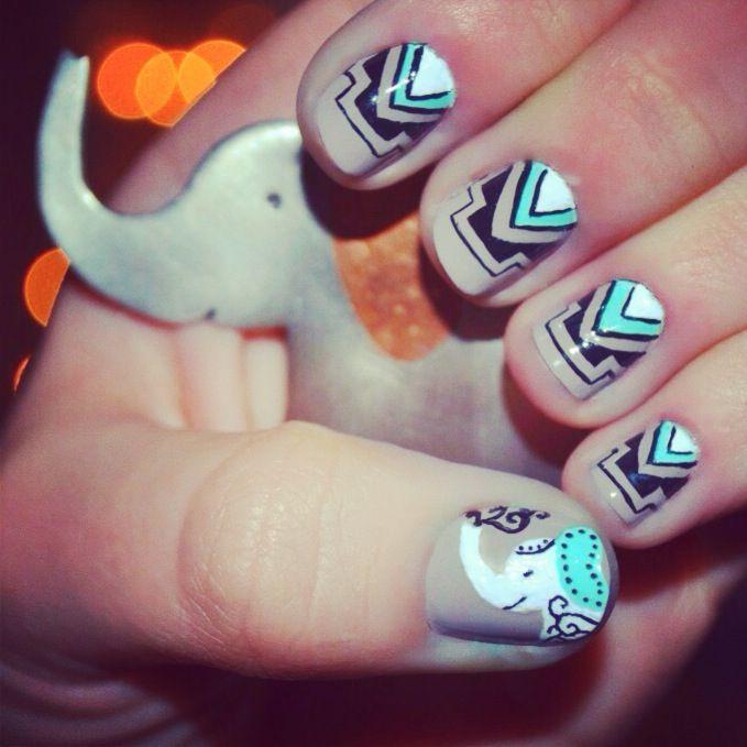 elephant nails nail art