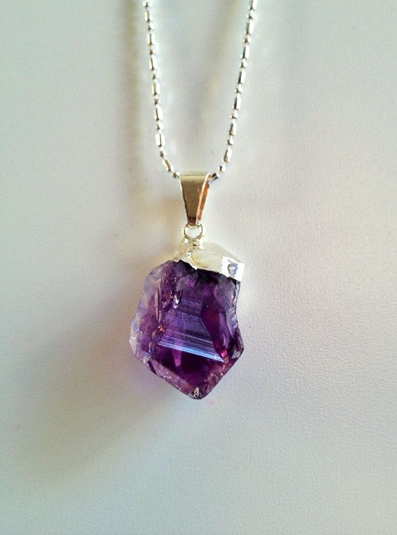 Purple Amethyst Faceted Quartz Pear Cut Gems Silver Plated Chain Fashion Jewelry
