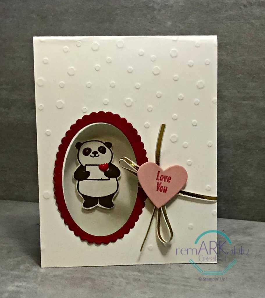 happy valentine panda from stampin ups panda party - Stampin Up Valentine Card Ideas