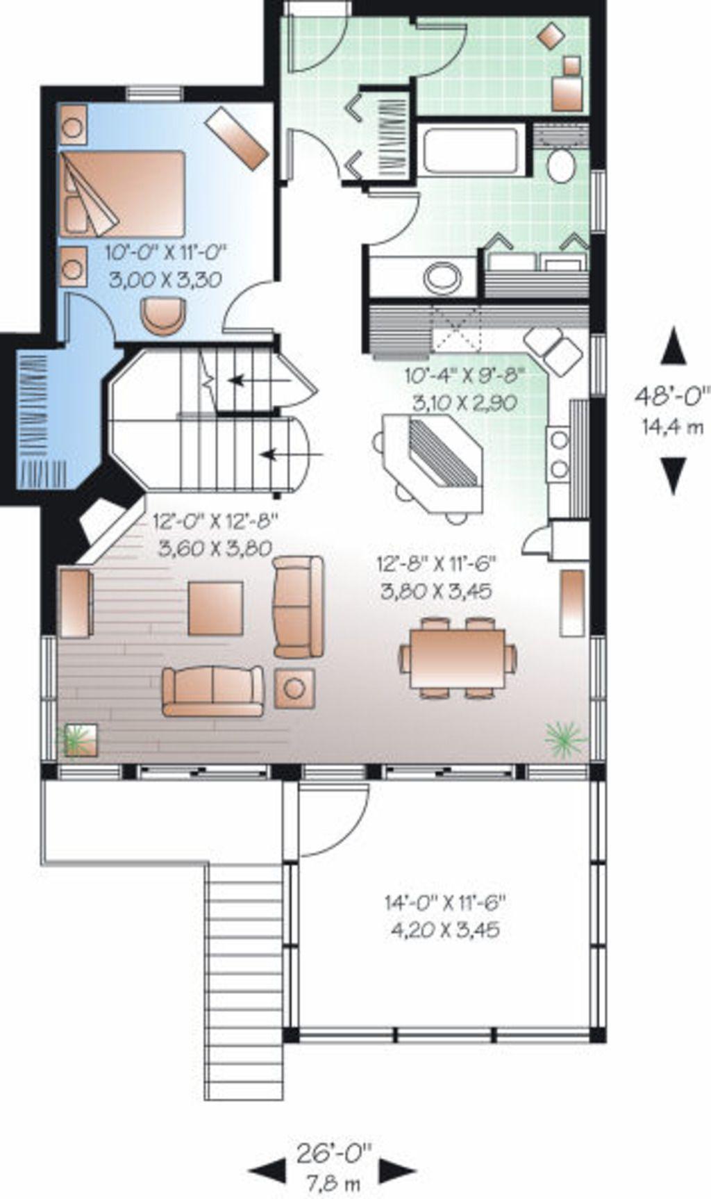 Beach Style House Plan 3 Beds 2 Baths 1484 Sq Ft Plan 23 866 Beach Style House Plans Lake House Plans Cottage House Plans