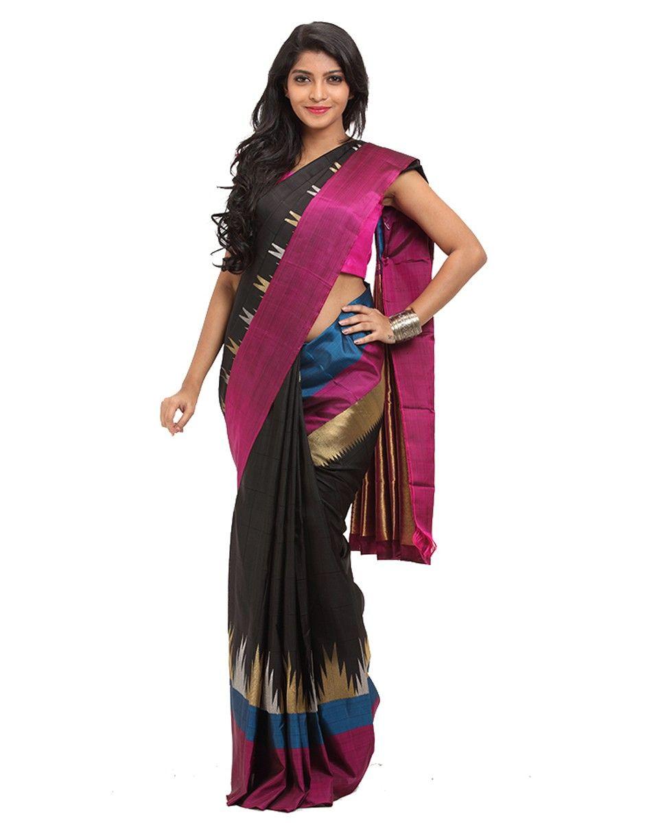 e637e206a82d8d Kancheepuram Silk Fabric Fusion Saree. Black color kancheepuram silk self  check body. Dual border