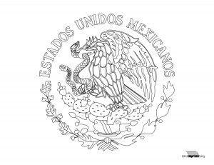 Escudo Nacional De Mexico Para Colorear Para Imprimir Escudo De Mexico Escudo Bandera De Mexico Dibujo
