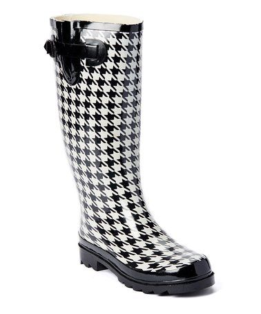 a10db2d674e Love this Black & White Houndstooth Nikki Rain Boot on #zulily ...