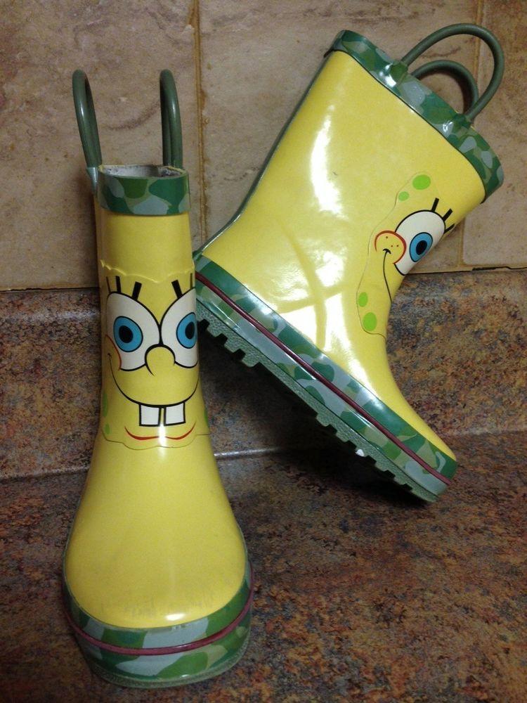 toddler boy s spongebob rubber rain boots size 9 10 spongebob