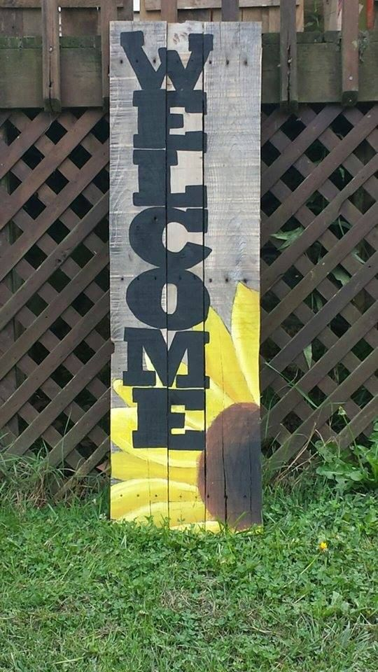 Hand Painted Sunflower Welcome Sign If By