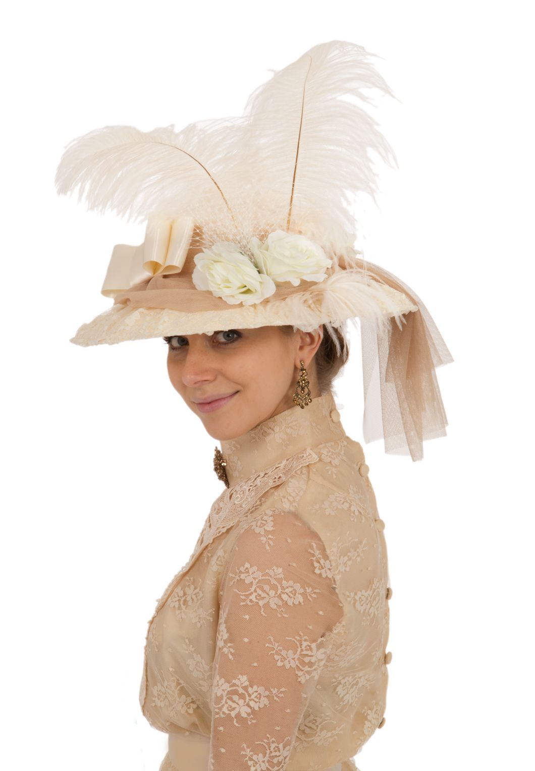 Natasha Antique Lace Edwardian Hat By Recollections  930d7e6cadb
