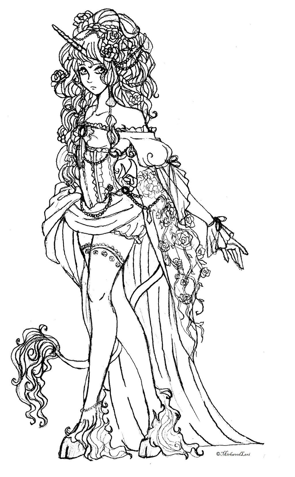 Maiden of Fantasy Coloring Drawing Tracing Pinterest