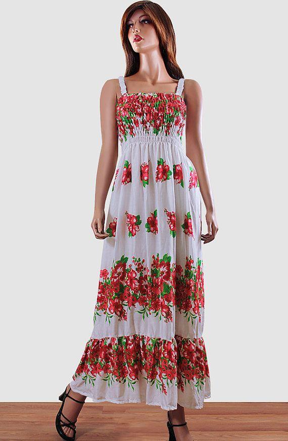 b53282d8e3c8 Bohemian Dress Hawaiian Dress Hibiscus White Orange by OneSizePlus Sheer Maxi  Dress