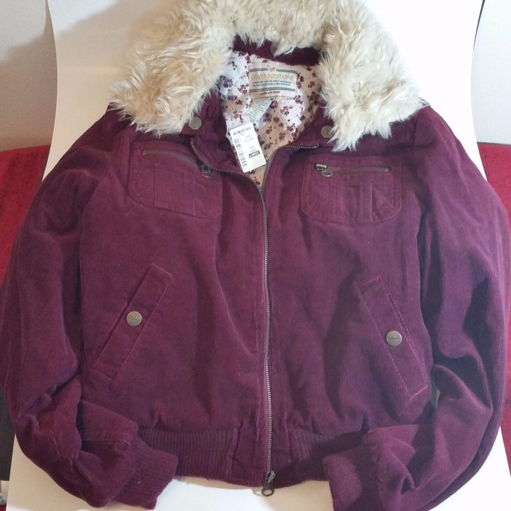 Aeropostale  coat Junior size L large Burgundy Corduroy Faux Fur #Aeropostale #BasicJacket