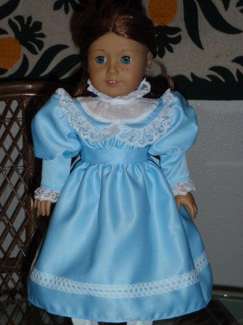 New American Girl  Cecile/'s Beautiful Blue Satin  Dress Marie Grace,Kirsten
