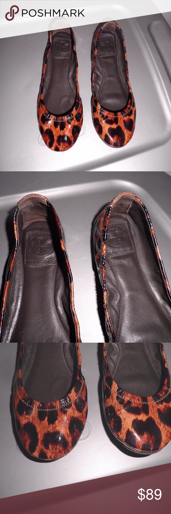 Tory Burch Eddie Leopard Print Patent Leather Flat Must have Tory Burch flats! The leopard print just works so well with so many looks! Rich looking patent leather. In very good condition.  ATGO/GW Tory Burch Shoes Flats & Loafers