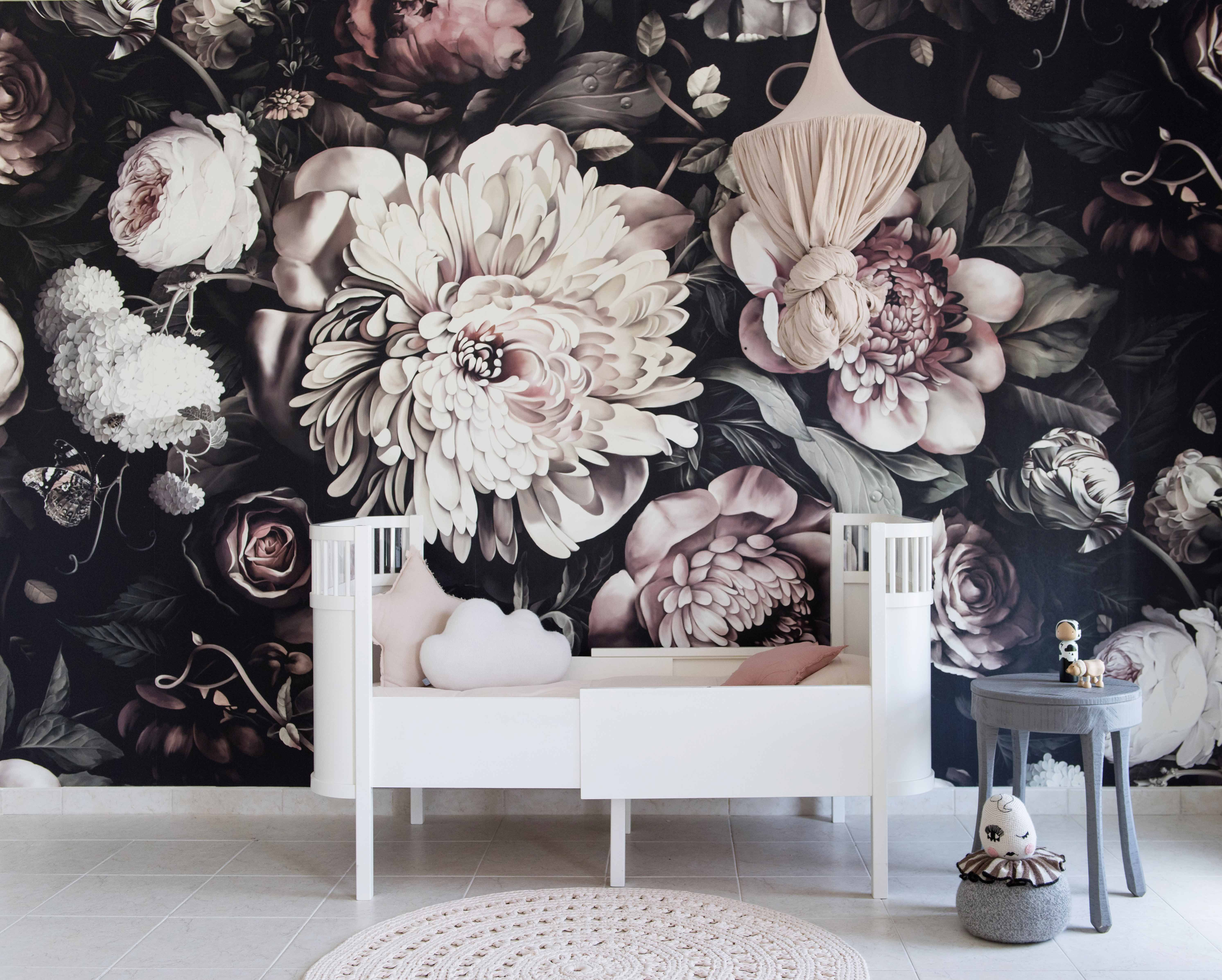 Ellie Cashman Design Dark Floral Wallpaper Dark Floral Ii Black
