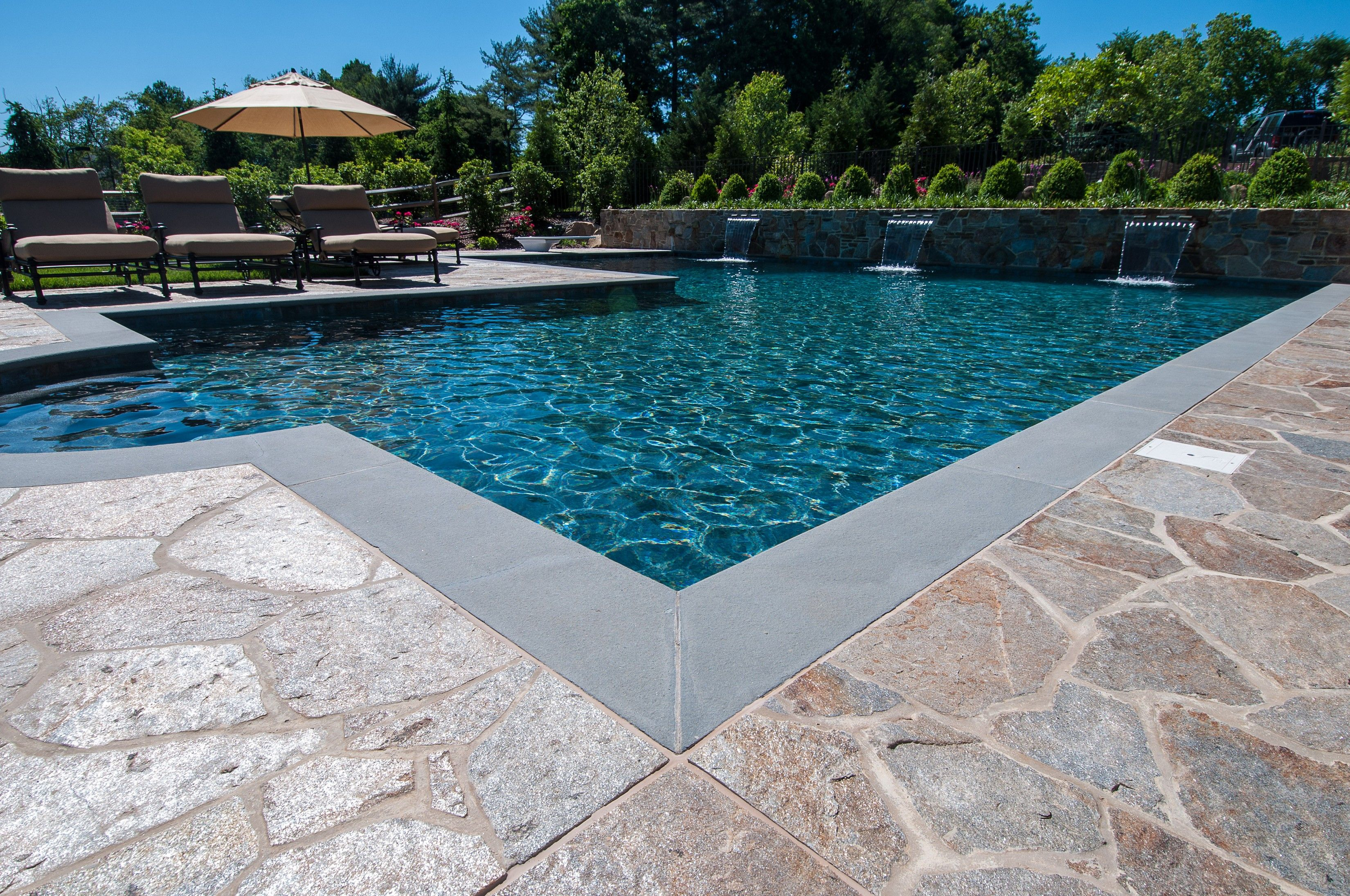 Pebble sheen ocean blue pool finish poolscapes pinterest blue pool backyard and pool remodel for Pebble finishes for swimming pools