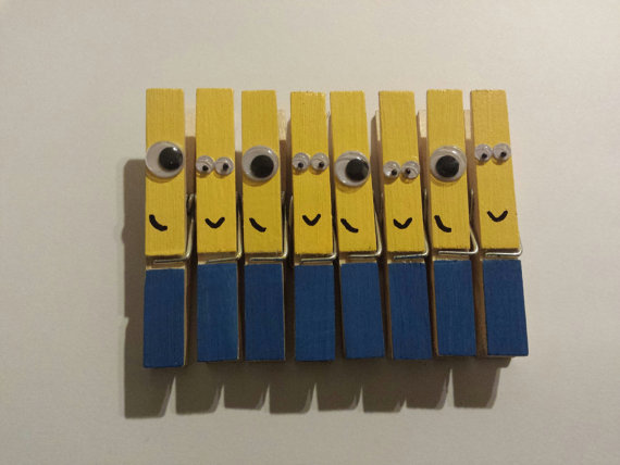 Minion inspired clothespins set of 8 by pinsthings on Etsy, $5.50