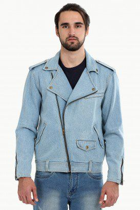 503bb3a6474 Biker Style Light Wash Denim Jacket