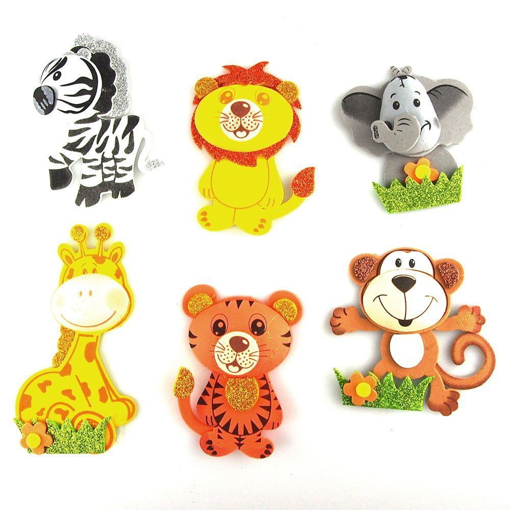 Safari animals foam foam decor 6 pairs small safari for Baby shower decoration cutouts