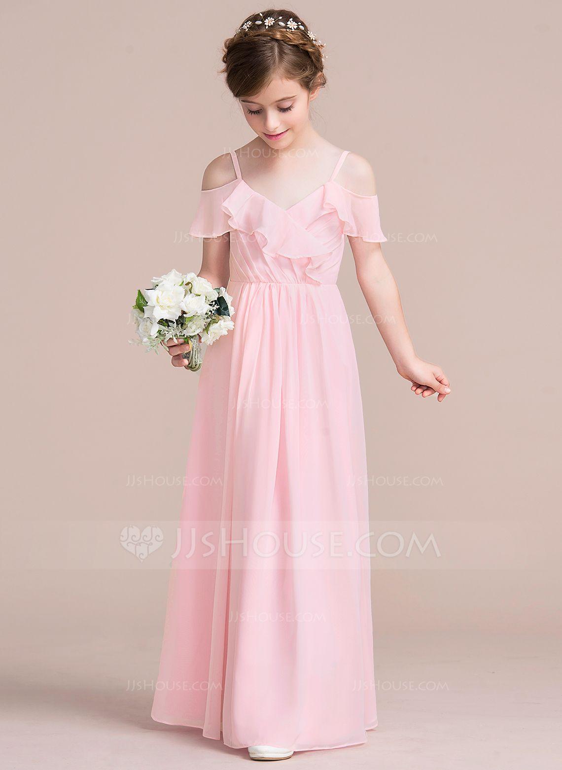 A-Line/Princess V-neck Floor-Length Chiffon Junior Bridesmaid Dress ...