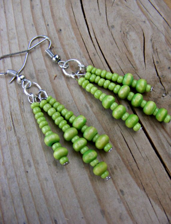 Lime Green Wood Beads Triple Dangle Earrings