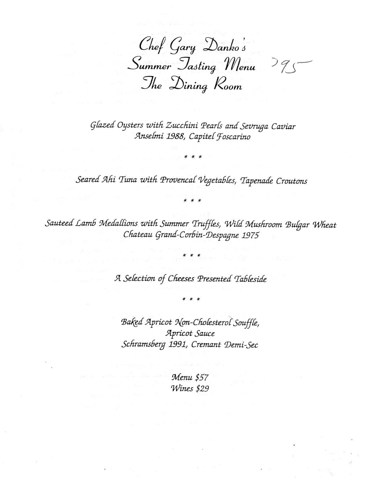 Chef Gary Danko S Summer Tasting Menu The Dining Room 1995 Tasting Menu Menu Tasting