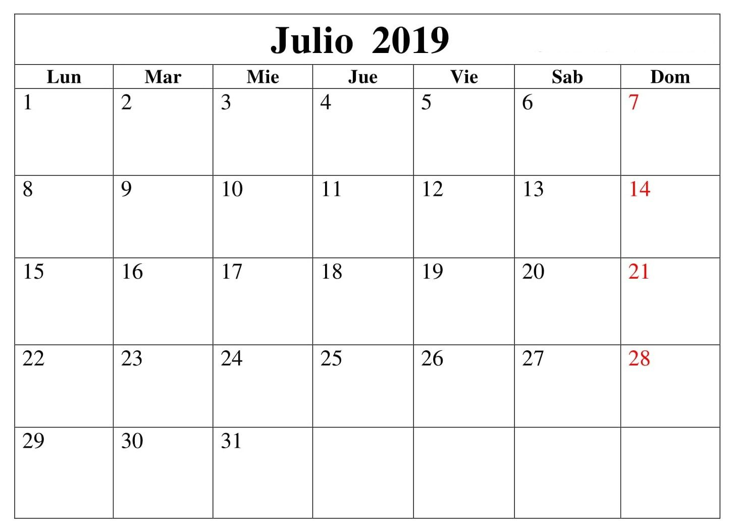 Calendario Mensual Word.Calendario 2019 Julio Para Imprimir Word Mensual