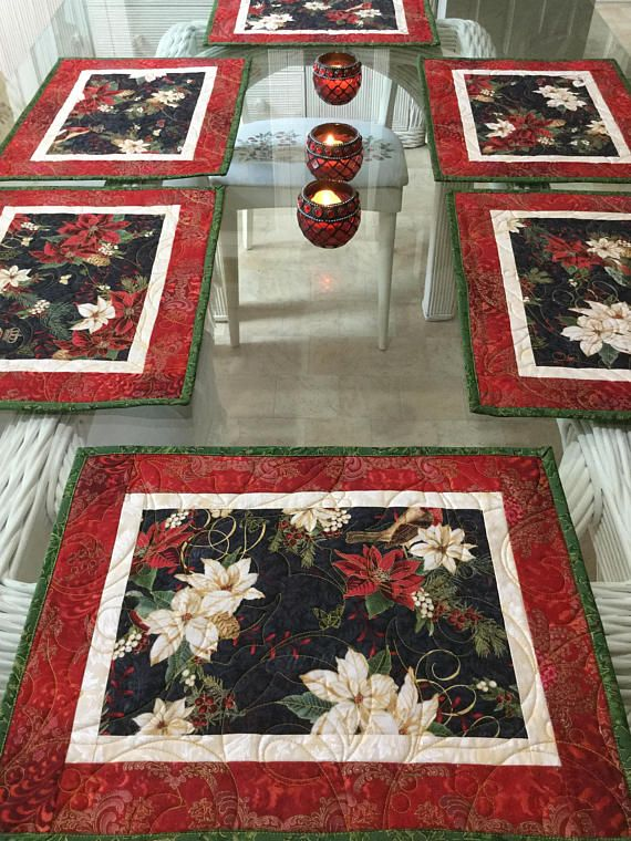 Holiday Placemats, Quilted Placemats, Poinsettia Placemats, Sold in ...