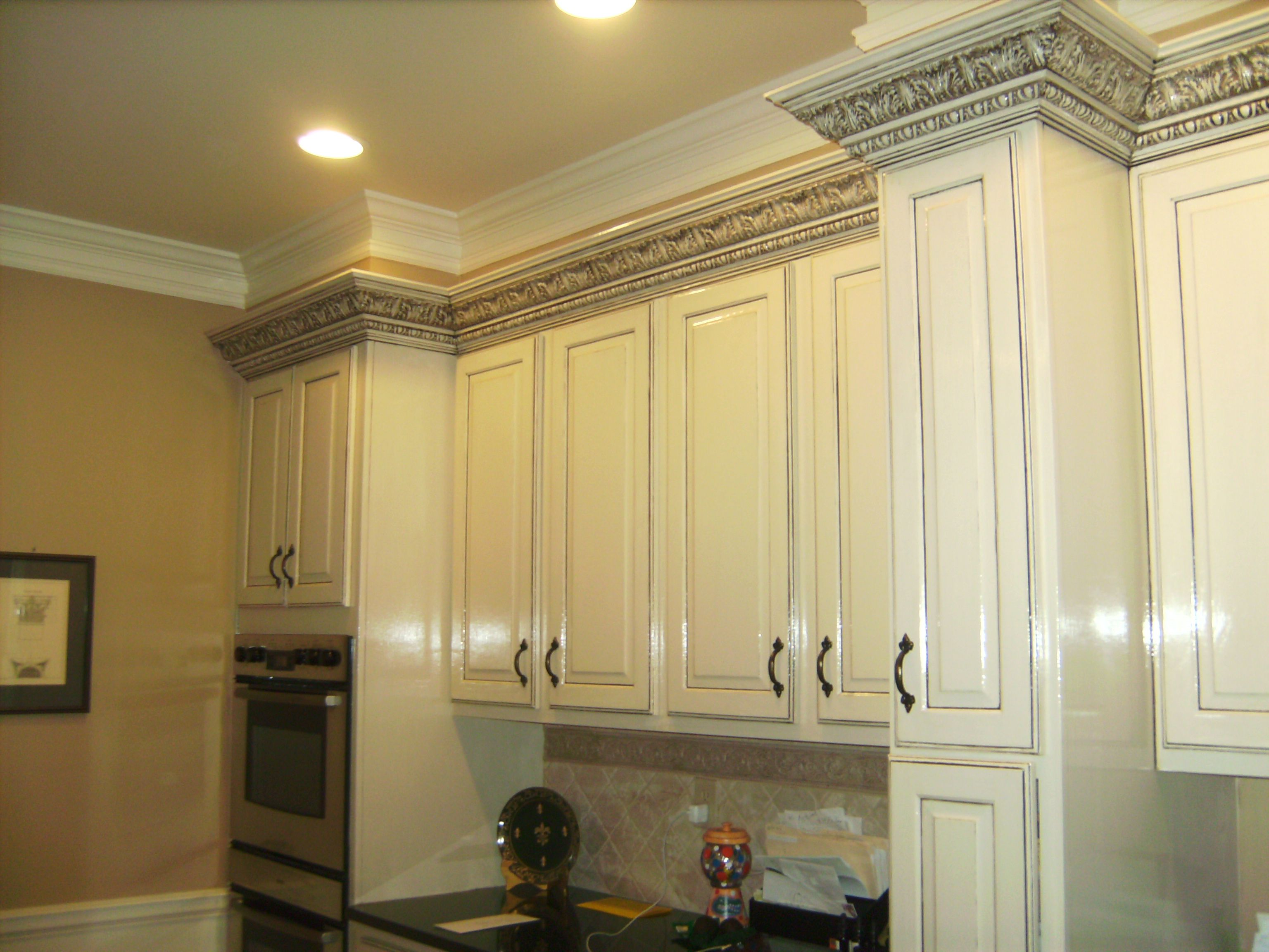 Kitchen Crown Molding White Custom Kitchen Cabinets With Black Gray Charcoal Glazed