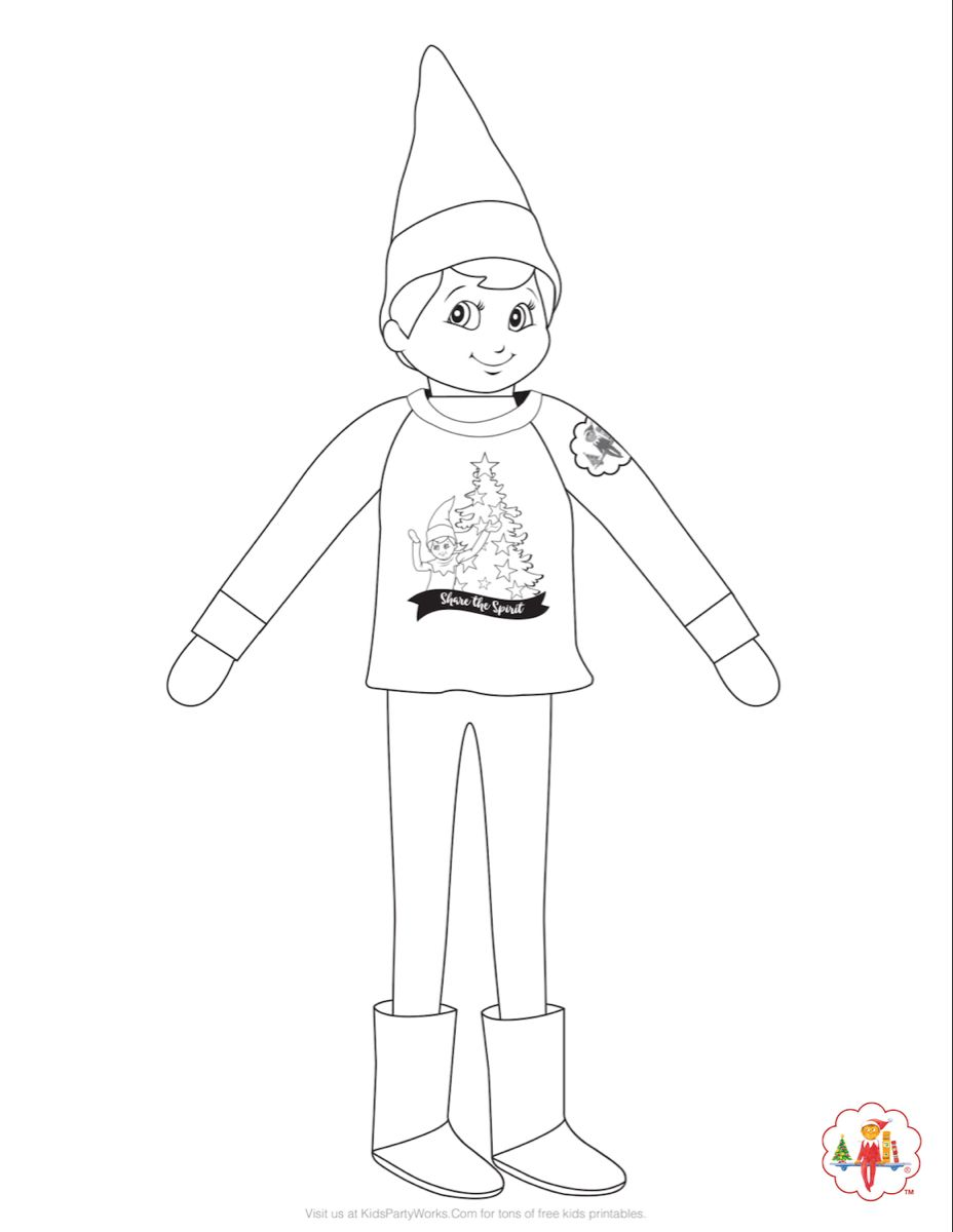 Elf On The Shelf Coloring Page He S Comfy And Cozy In His Holiday Sweatshirt Get More Christmas Coloring Pages Coloring Pages Awesome Elf On The Shelf Ideas