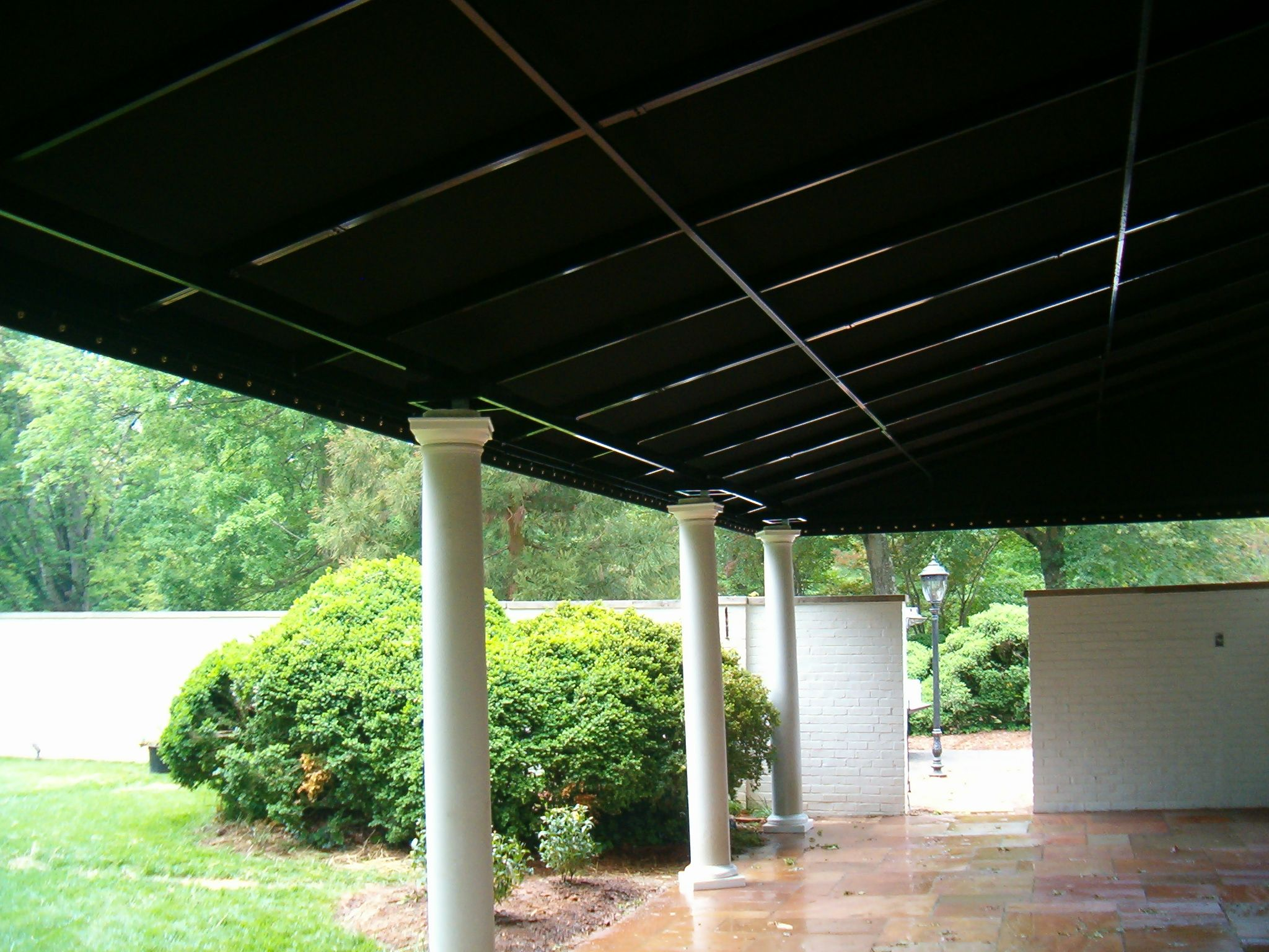 Stationary Patio Awning Featuring Sunbrella Fabric W Black Powder Coated Frame And Column Accents By Alpha Canvas Awnin Patio Awning Pergola Pergola Shade