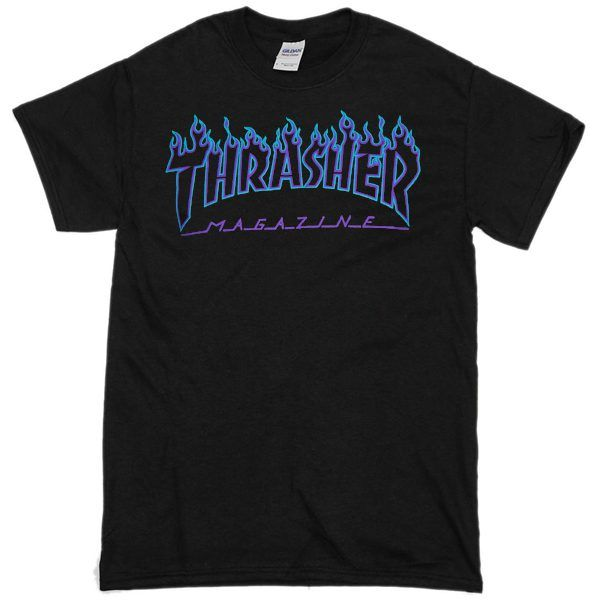 072f8e9b9f88 Thrasher Blue flame black T shirt   I want to wear   Personalized t ...