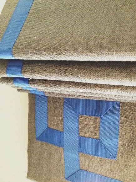 Roman Shade Details Linen Roman Blind With Blue