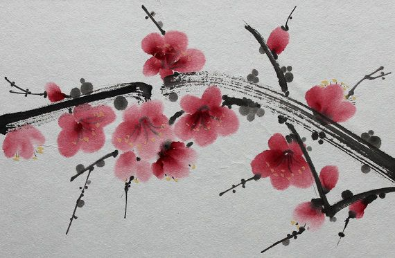 Japonaise Peinture Sumi E Laver A Lencre Par Orientalgallery