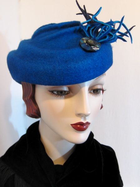 French Toque with Art Deco Button by ELSIE COLLINS #millinery #hats #HatAcademy