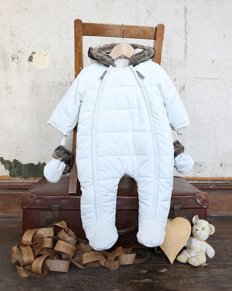 White Quilt Baby Pramsuit - Christmas