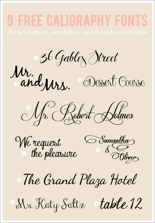 9 Free Calligraphy Fonts Fancy fonts, Lettering