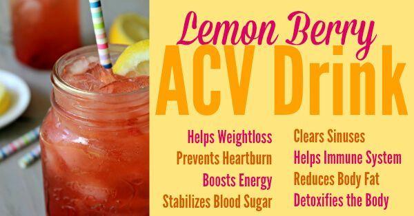 Lemon ACV Drink Berry Lemon ACV Drink Recipe •2 tablespoons fresh or frozen berries •1 tablespoon apple cider vinegar with