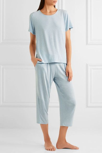 DKNY - Blue Note Mesh-paneled Stretch-modal T-shirt - Light blue -